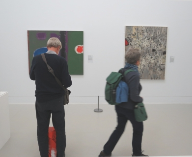 Patrick Heron 'Green and Purple Painting with Blue Disc' (left), Bryan Wynter 'Riverbed' (right)