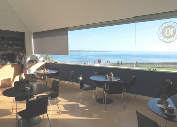 The cafe and sea view on the first floor