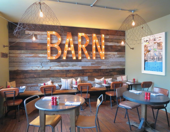 The bright lights of The Cornish Barn main restaurant
