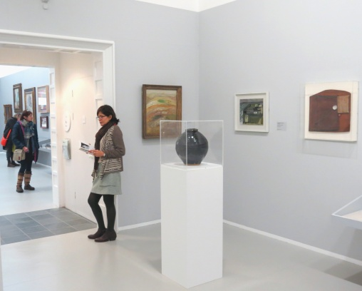 Gallery Three - Foreground: Bernard Leach Vase (1958) Left: Adrian Stokes 'Landscape, West Penwith Moor' (1937) Middle rear: Wilhelmina Barns-Graham 'Island Sheds, St Ives No. 1' (1940) Right: Peter Lanyon 'White Track' (1939–40)